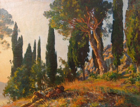 ohn Singer Sargent, 'Cypresses and Pines', Autumn 1913 (71.12 x 91.44 cm) (Trinity House Paintings)