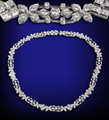Platinum and diamond necklace by Tiffany and Co., articulated geometric and floral-motif links set with circular- and square-cut diamonds (as shown in closeup), gross weight 50 grams. Auction Zero image