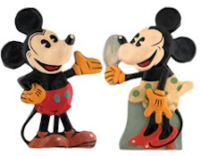Mickey and Minnie Mouse mechanical Old King Cole store display pair, circa 1935, ex Doug and Pat Wengel collection. Est. $10,000-$20,000. Hake's image