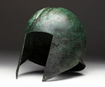 Greek Illyrian bronze helmet, circa late 6th to 5th century BCE, estimate $20,000-$30,000. Artemis Gallery image
