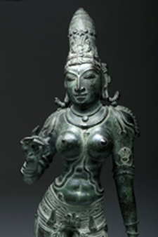 Circa-1750 CE Indian bronze of Uma (Parvati), 19½ inches tall, provenance includes purported gift in 1946 from Mahatma Gandhi. Est. $13,000-$19,000. Caption courtesy of Artemis Gallery