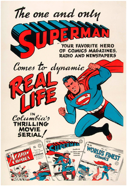 Linen-mounted one-sheet movie serial poster featuring Superman art and comic books, 1948, 28.25 x 41.75 inches. Franco Toscanini collection. Est. $10,000-$20,000. Image courtesy of Hake's Americana