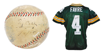 Ty Cobb game-used and single-signed record-setting home run baseball from May 6, 1925. Image courtesy of Grey Flannel Auctions