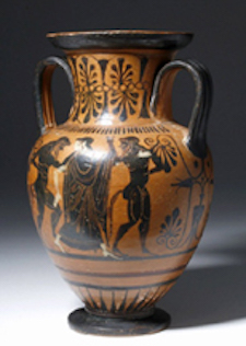 Greek Attic neck amphora with illustrations of Abduction of Hippodameia, est. $30,000-$60,000 Image courtesy Artemis Gallery