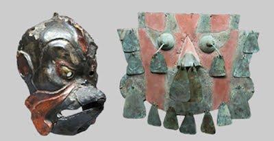 Rare 8th-century Japanese wood Gigaku mask, Karura type, est. $9,000-$12,000; Pre-Columbian Sican/Chimu (northern coastal Peru) painted copper mask, circa 800-1000 CE, est. $14,000-$21,000. Image courtesy Artemis Gallery