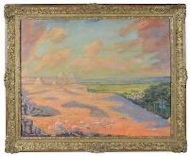 Sir Winston Churchill, O.M., R.A. (1874-1965), The Giza Pyramids at Cairo, oil on canvas, signed with initials, 27½ by 35 3/8-inch, auction estimate $520,000-$780,000. Image courtesy Boningtons Fine Art Auctioneers