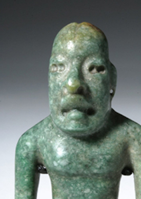 blue-green jade were-jaguar figure