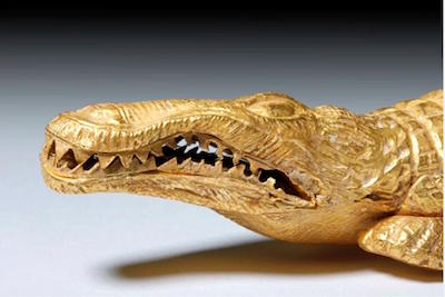 Romano-Egyptian crocodile made of 23K gold (97% gold content), 1st century BCE to 1st century CE, 6.875 inches long, est. $18,000-$27,000  Caption courtesy of Artemis Gallery