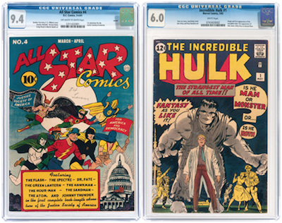 (Left) All Star Comics #4, March/April 1941, featuring the first adventure for the Justice Society of America, NM, Larson pedigree, est. $10,000-$20,000; and (right) Incredible Hulk #1, with first appearance of Hulk, est. $10,000-$20,000
