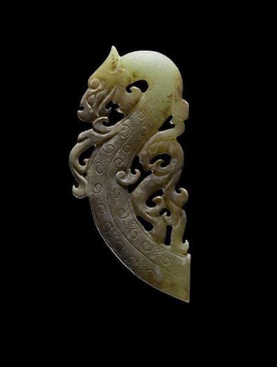 Dragon and Phoenix Jade Pendant Warring States Period China 475-221 BCE 3.5 x 1.5 x 1-8