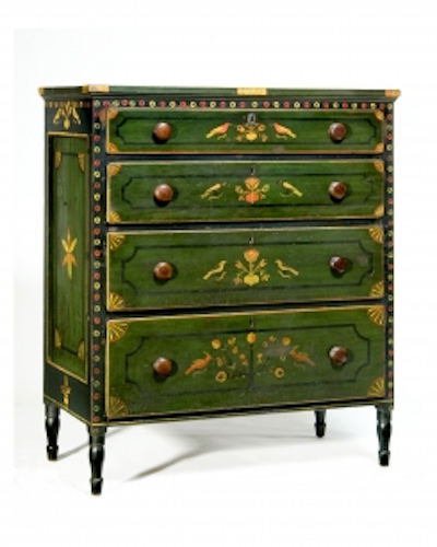 "A fine paint-decorated chest of drawers Att. to Johannes Mayer Mahantongo Valley, Northumberland or Schuylkill County, Pennsylvania, c.1830 Painted overall in green and blue with polychrome decoration of birds, hearts, flowers, rosettes, and geometric patterns Ht. 49 1Ž4"", W. 43 1Ž2"", D. 22 1Ž2""  Exhibitor: Olde Hope Antiques, Inc."
