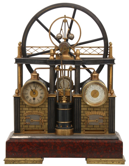 French-industrial-steam-engine-clock